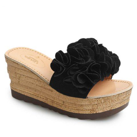 Thick Bottom High Heel Antiskid Flower Cool Slippers - BLACK 35