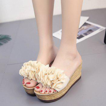 Thick Bottom High Heel Antiskid Flower Cool Slippers - BEIGE 37