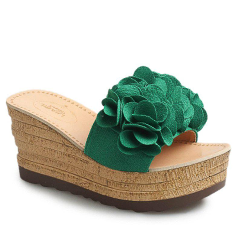 Thick Bottom High Heel Antiskid Flower Cool Slippers - GREEN 37