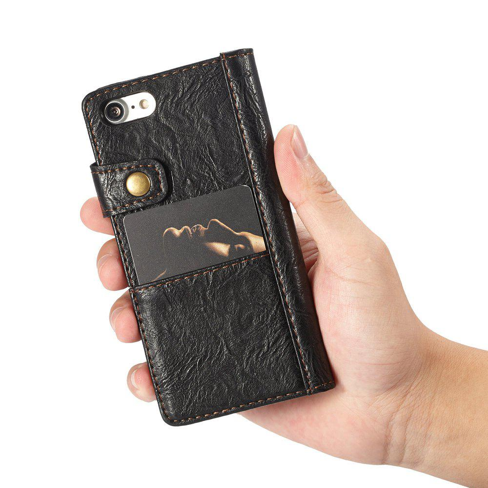 CaseMe Vintage Style PU Leather Wallet Phone Case for iPhone 7/8 - BLACK