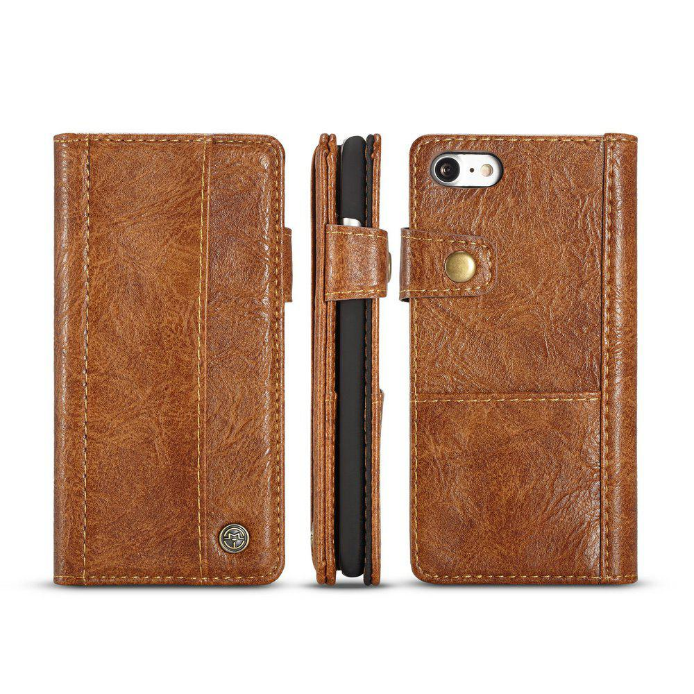 CaseMe Vintage Style PU Leather Wallet Phone Case for iPhone 7/8 - BROWN