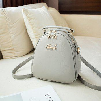 Women's PU Leather Backpack Ladies Casual Shoulder School Bag - GRAY
