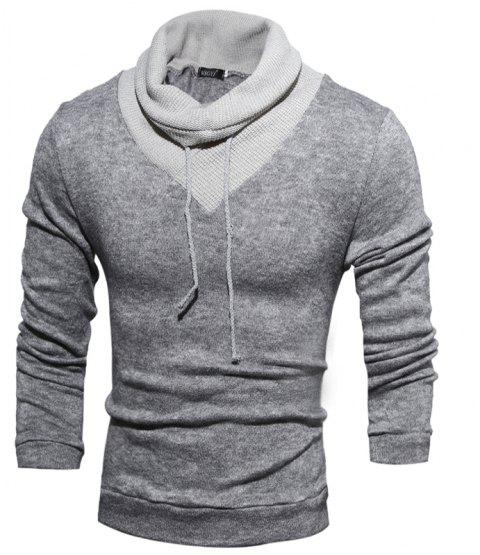 New  Fashion Hedging High-Necked Solid Color Sweater - LIGHT GRAY 2XL