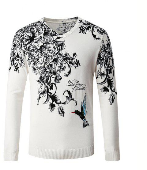 Hummingbird Print Pattern Men's V-Neck Sweater - WHITE L