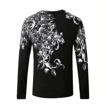 Hummingbird Print Pattern Men's V-Neck Sweater - BLACK 4XL