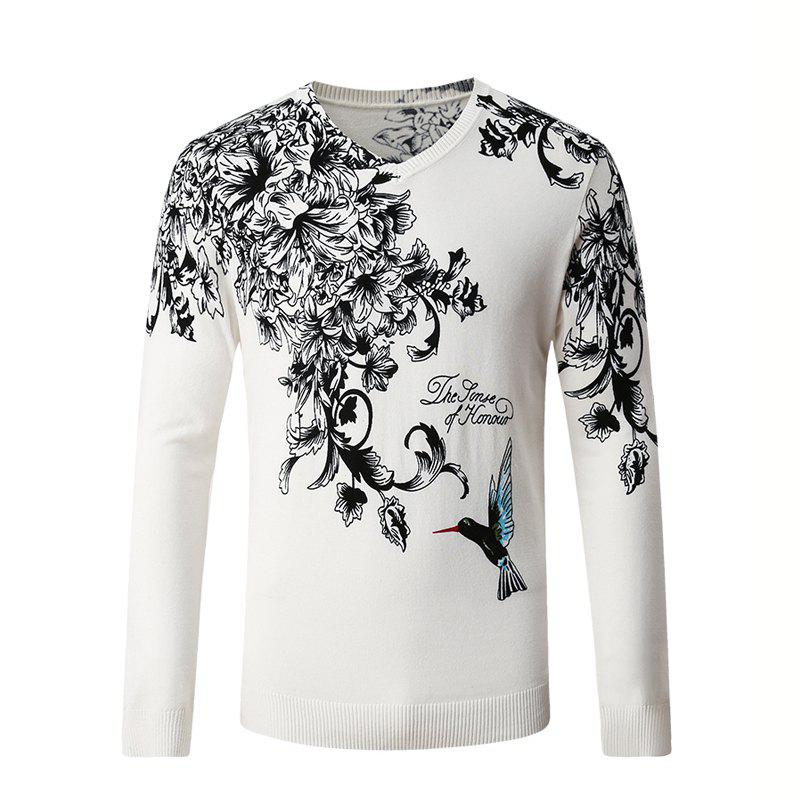 Hummingbird Print Pattern Men's V-Neck Sweater - WHITE M