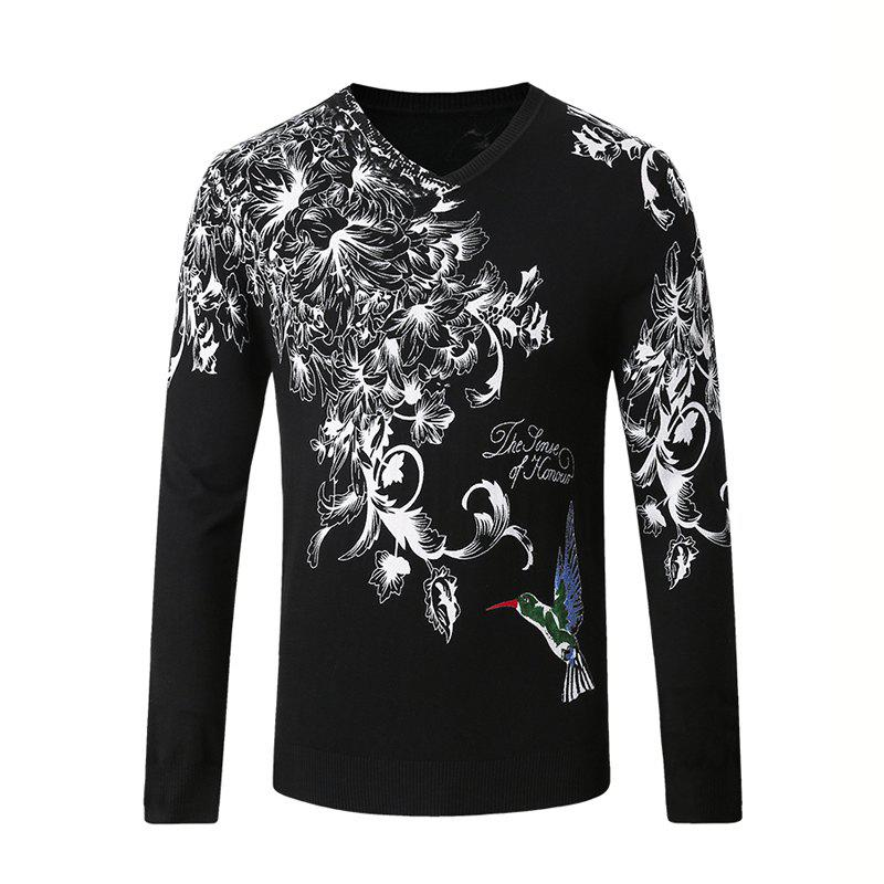 Hummingbird Print Pattern Men's V-Neck Sweater - BLACK XL