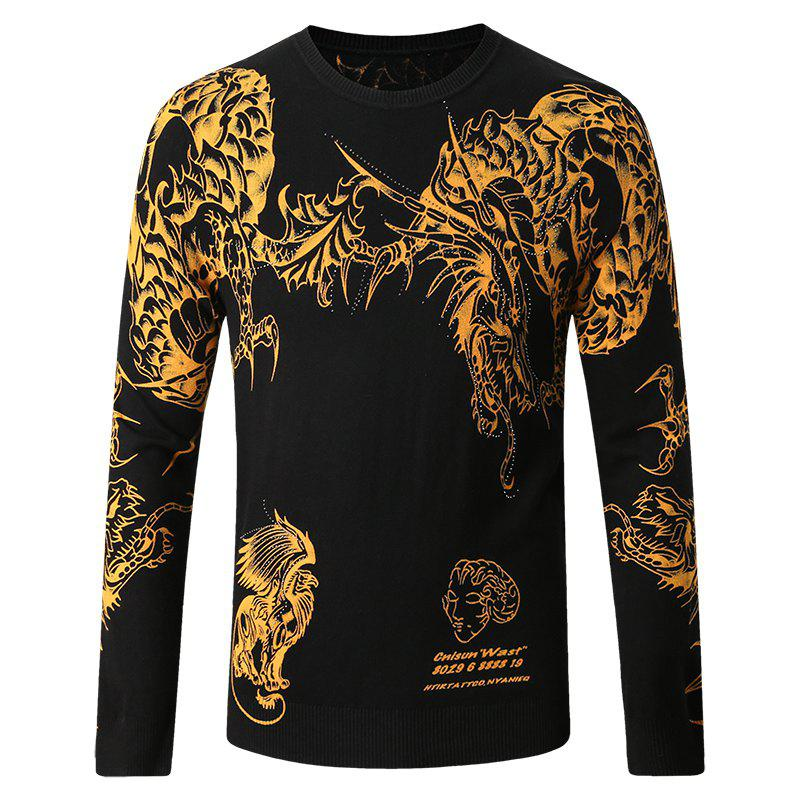 Men's Round Neck Chinese Dragon Print Sweater - BLACK L