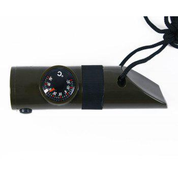 7 in 1 Mltifunctional Thermometer Compass Magnifier Camping Whistle for Outdoor Survival Emergency Articles - OLIVE GREEN
