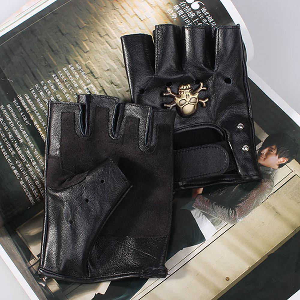New Men Motorcycle Sheepskin Leather Fingerless Half Gloves Rivets - Black - BLACK