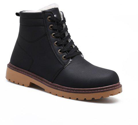 Warm Suede Leather Men Boots - BLACK 43