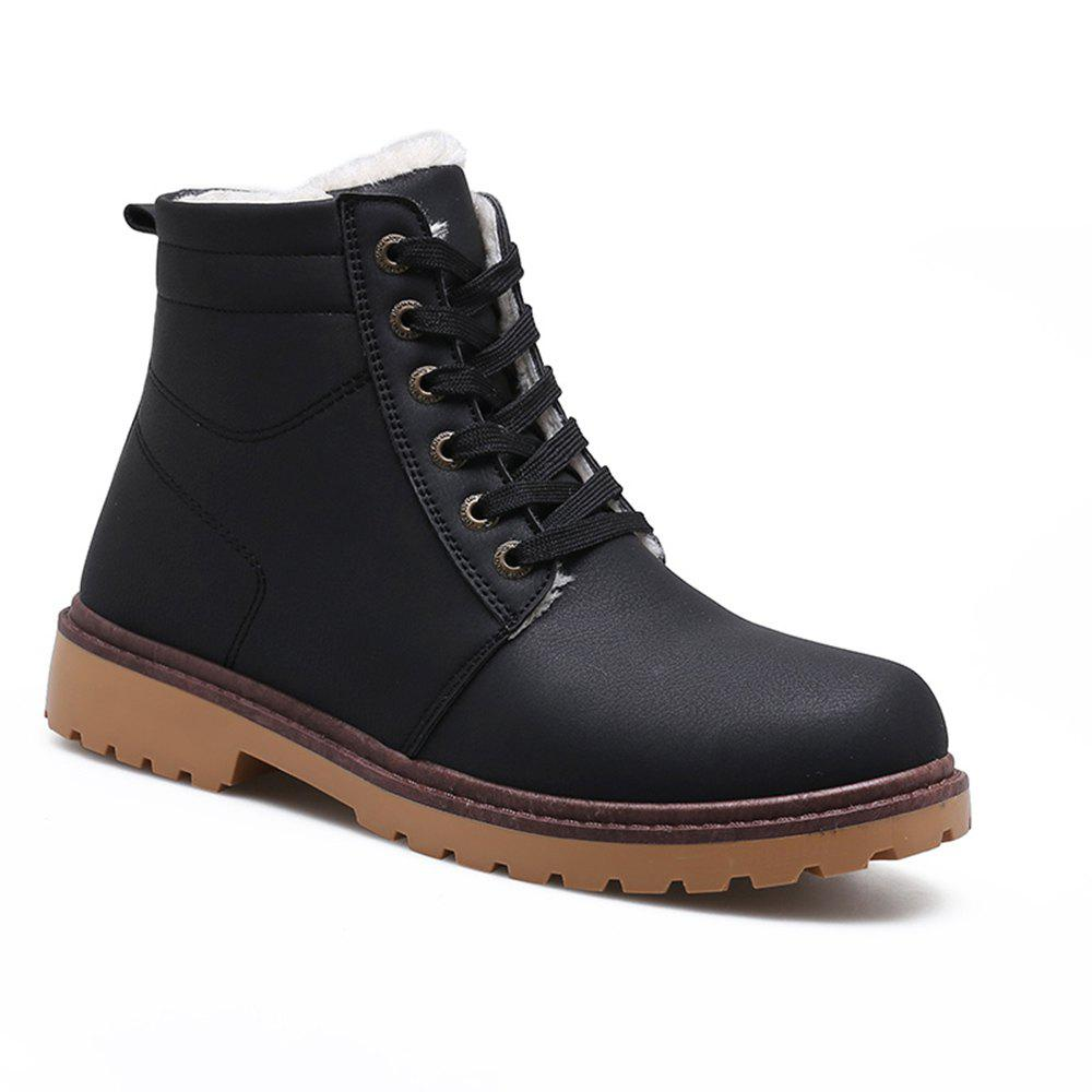 Warm Suede Leather Men Boots - BLACK 39