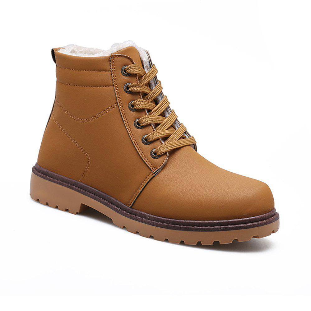 Warm Suede Leather Men Boots - YELLOW 44