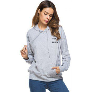 Solid Colour Loose Drawstring Hoodie - GRAY M