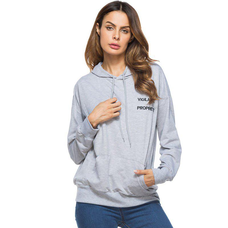 Solid Colour Loose Drawstring Hoodie - GRAY 2XL