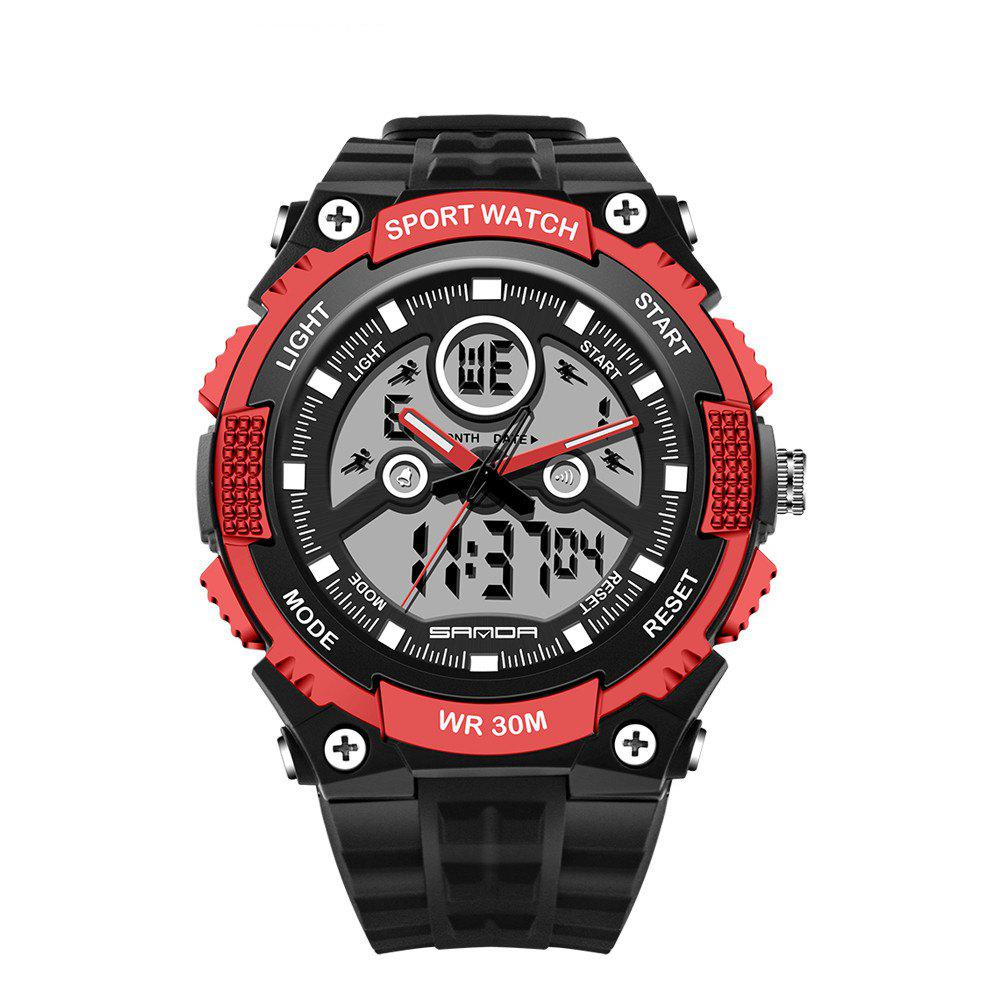 Sanda 709 1293 Stylish Outdoor Sports Trend Pointer Digital Double Display Multi Function Display Waterproof Electronic - RED