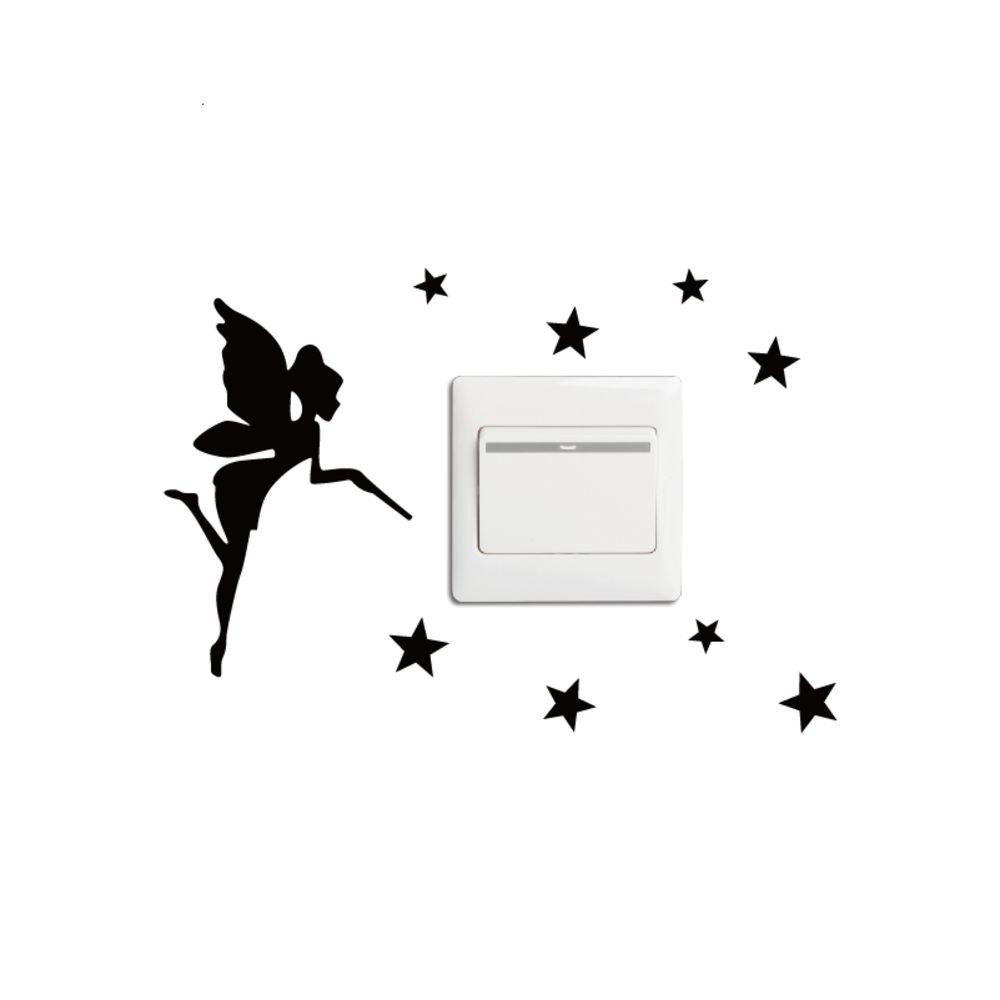 KG-254 Personality Fairy Fashion Light Switch Sticker for Kids Room Bedroom Wall Decal cartoon kids light led beside toys kids pendant light lamp kids room night light for children bedroom hanging head lamp
