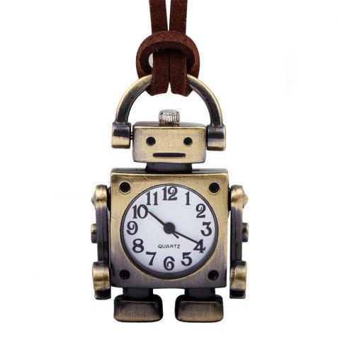 Retro Cartoon Robot Shape Pocket Quartz Keyring Watch Pendant Gifts - COPPER COLOR