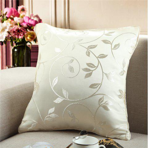 Gyrohome Jacquard Flower Leafs  Cushion Covers Pillows - WHITE W24 INCH * L24 INCH