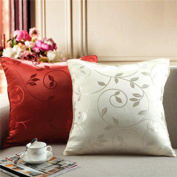 Gyrohome Jacquard Flower Leafs Housses de coussin Oreillers - Rouge W17.5 INCH * L17.5 INCH
