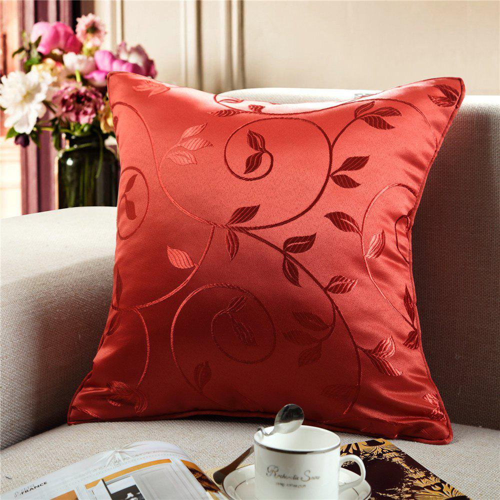 Gyrohome Jacquard Flower Leafs  Cushion Covers Pillows - RED W18 INCH * L18 INCH
