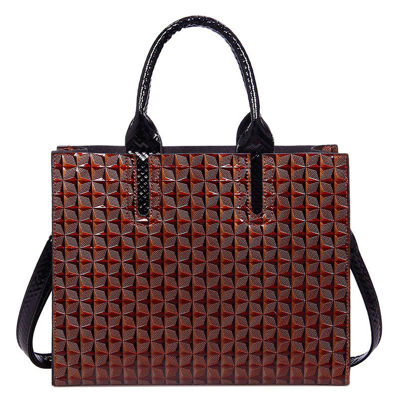New Ladies 3D Rhombic Handbag High Capacity Fashion Printing Stars Commuter Bag - BROWN