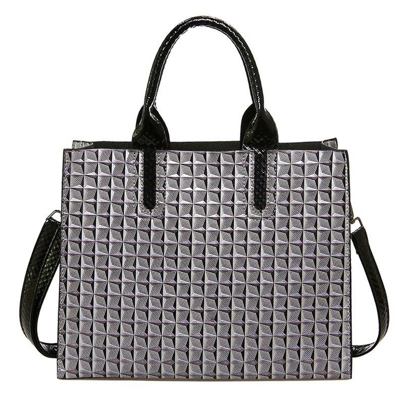 New Ladies 3D Rhombic Handbag High Capacity Fashion Printing Stars Commuter Bag - GRAY