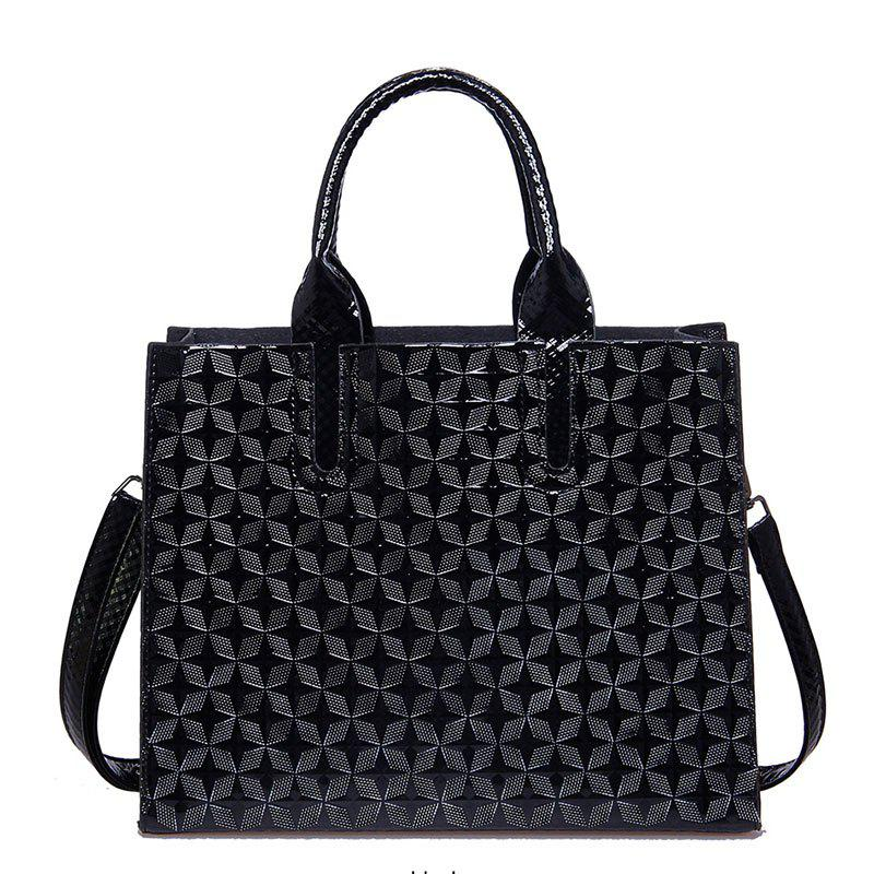 New Ladies 3D Rhombic Handbag High Capacity Fashion Printing Stars Commuter Bag - BLACK