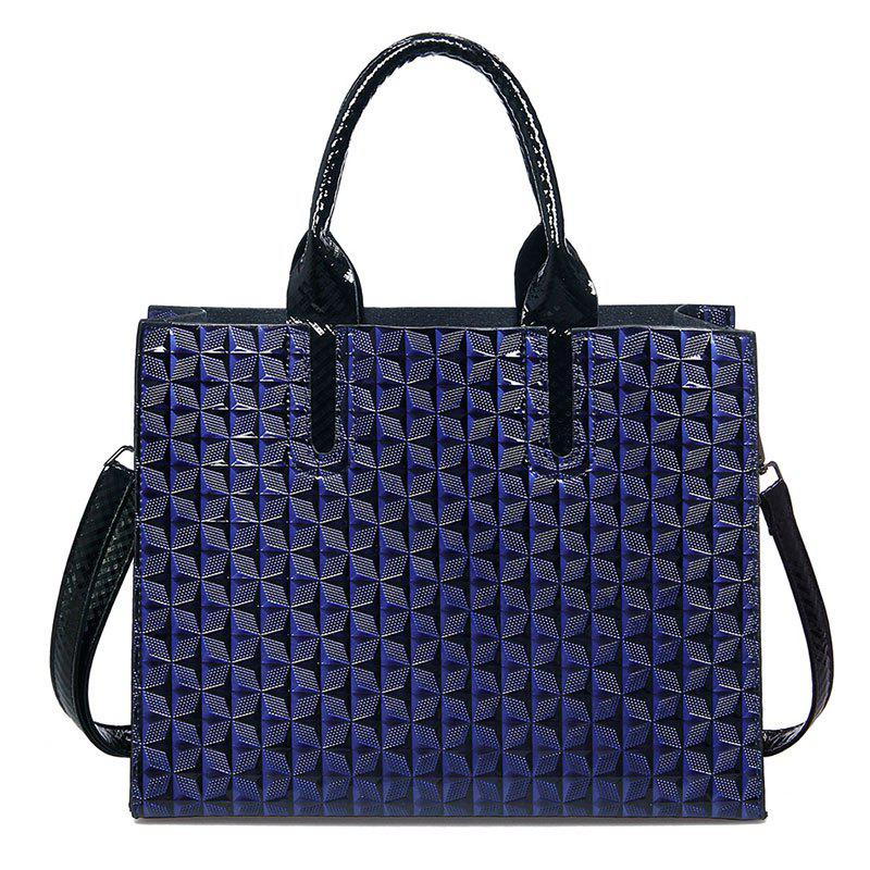 New Ladies 3D Rhombic Handbag High Capacity Fashion Printing Stars Commuter Bag - BLUE