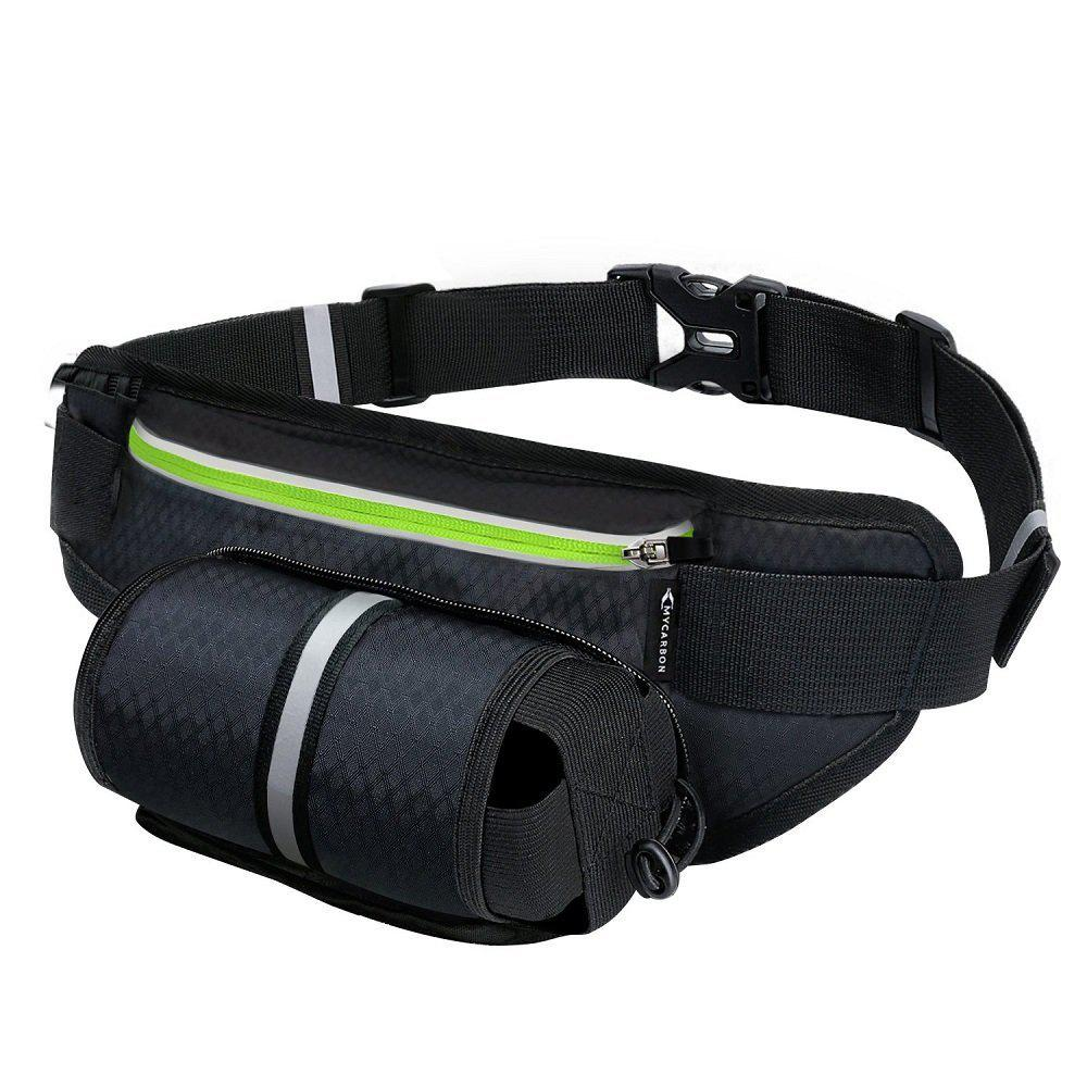 Running Belt Waist Pack Multifunctional Zipper Pockets with Water Bottle Holder Waterproof Exercise Bag - BLACK