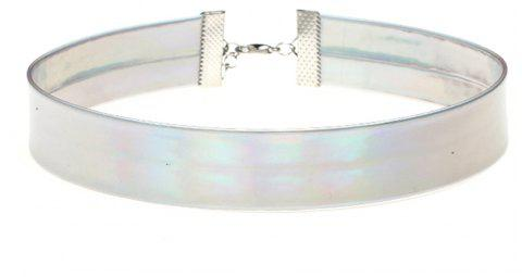 Personalized Female Laser Short Choker Glitter Shiny Necklace Accessories - SILVER