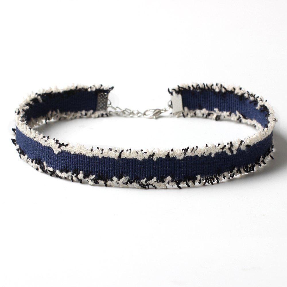 Ethnic Style Burlap Choker Collar Denim Necklace Ornament Accessories - DARK BLUE
