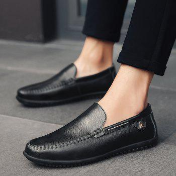 Men Casual Business Peas Shoes Loafers Fashion Outdoor Spring Sport Breathable Sneakers - BLACK 46