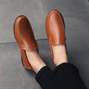 Men Casual Business Peas Shoes Loafers Fashion Outdoor Spring Sport Breathable Sneakers - DEEP BROWN 46