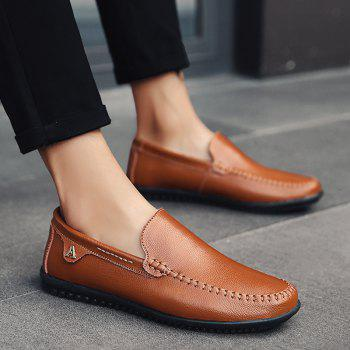 Men Casual Business Peas Shoes Loafers Fashion Outdoor Spring Sport Breathable Sneakers - DEEP BROWN 44