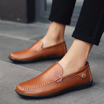 Men Casual Business Peas Shoes Loafers Fashion Outdoor Spring Sport Breathable Sneakers - DEEP BROWN 42