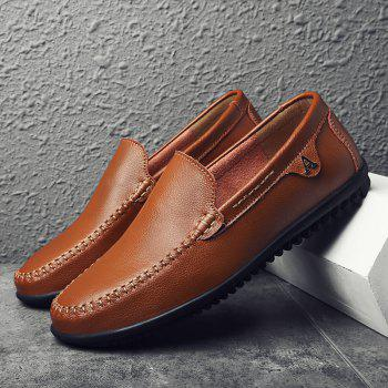 Men Casual Business Peas Shoes Loafers Fashion Outdoor Spring Sport Breathable Sneakers - DEEP BROWN 39