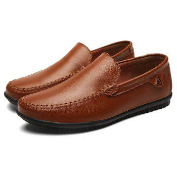Men Casual Business Peas Shoes Loafers Fashion Outdoor Spring Sport Breathable Sneakers - DEEP BROWN 38