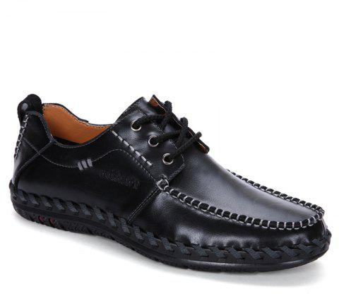 Men Leisure Casual Business Peas Shoes Loafers Fashion Outdoor Sport Breathable Sneakers - BLACK 42
