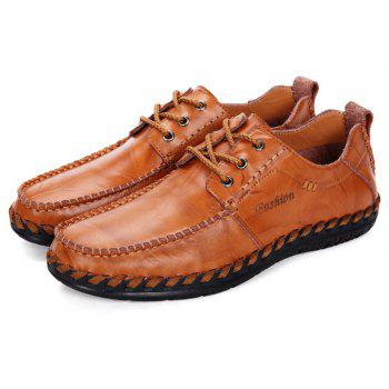 Men Leisure Casual Business Peas Shoes Loafers Fashion Outdoor Sport Breathable Sneakers - YELLOW BROWN 39