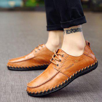 Men Leisure Casual Business Peas Shoes Loafers Fashion Outdoor Sport Breathable Sneakers - YELLOW BROWN 38