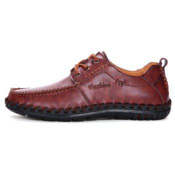 Men Leisure Casual Business Peas Shoes Loafers Fashion Outdoor Sport Breathable Sneakers - WINE RED 43