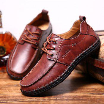 Men Leisure Casual Business Peas Shoes Loafers Fashion Outdoor Sport Breathable Sneakers - WINE RED 42