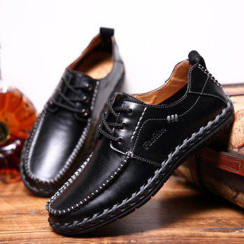 Men Leisure Casual Business Peas Shoes Loafers Fashion Outdoor Sport Breathable Sneakers - BLACK 38
