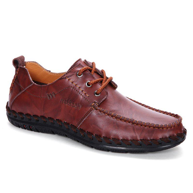 Men Leisure Casual Business Peas Shoes Loafers Fashion Outdoor Sport Breathable Sneakers - WINE RED 41