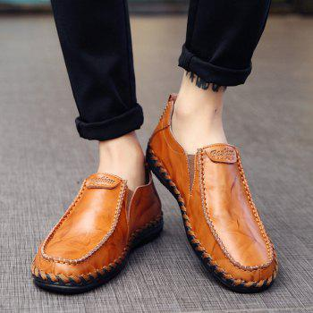 Men Leisure Casual Business Peas Shoes Loafers Fashion Outdoor Spring Sport Breathable Sneakers - YELLOW 42