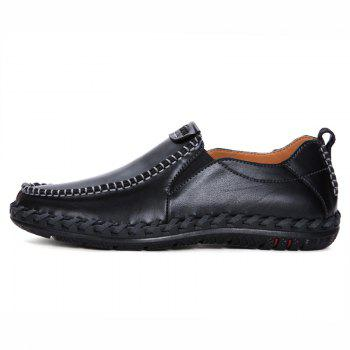 Men Leisure Casual Business Peas Shoes Loafers Fashion Outdoor Spring Sport Breathable Sneakers - BLACK 41
