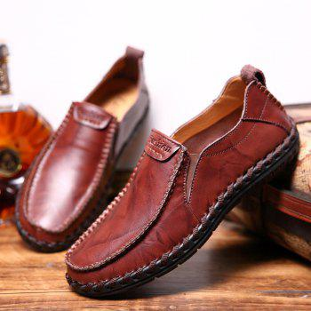 Men Leisure Casual Business Peas Shoes Loafers Fashion Outdoor Spring Sport Breathable Sneakers - WINE RED 44
