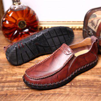 Men Leisure Casual Business Peas Shoes Loafers Fashion Outdoor Spring Sport Breathable Sneakers - WINE RED 39