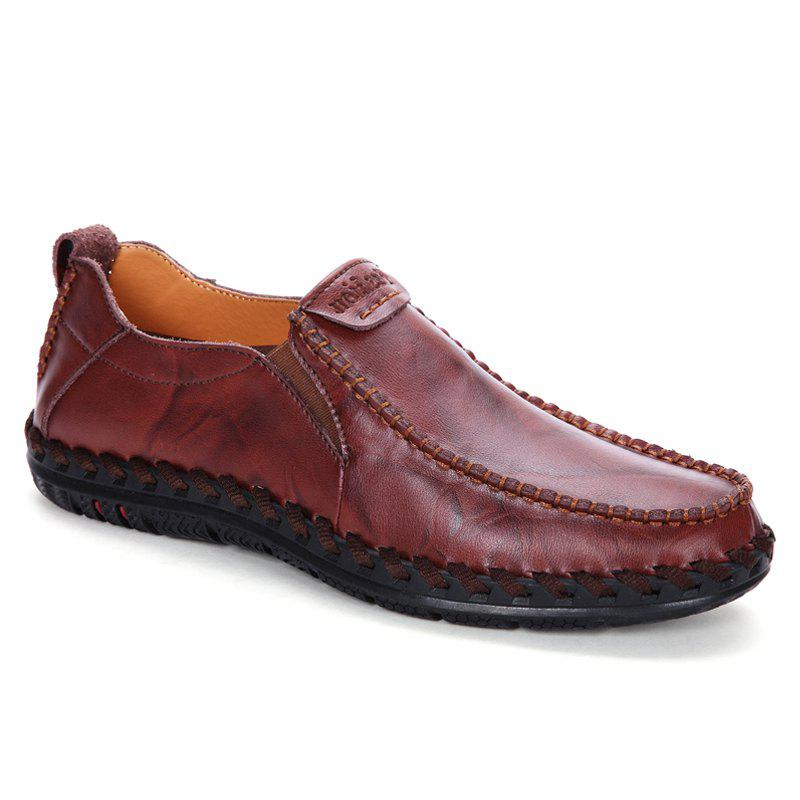 Men Leisure Casual Business Peas Shoes Loafers Fashion Outdoor Spring Sport Breathable Sneakers - WINE RED 43